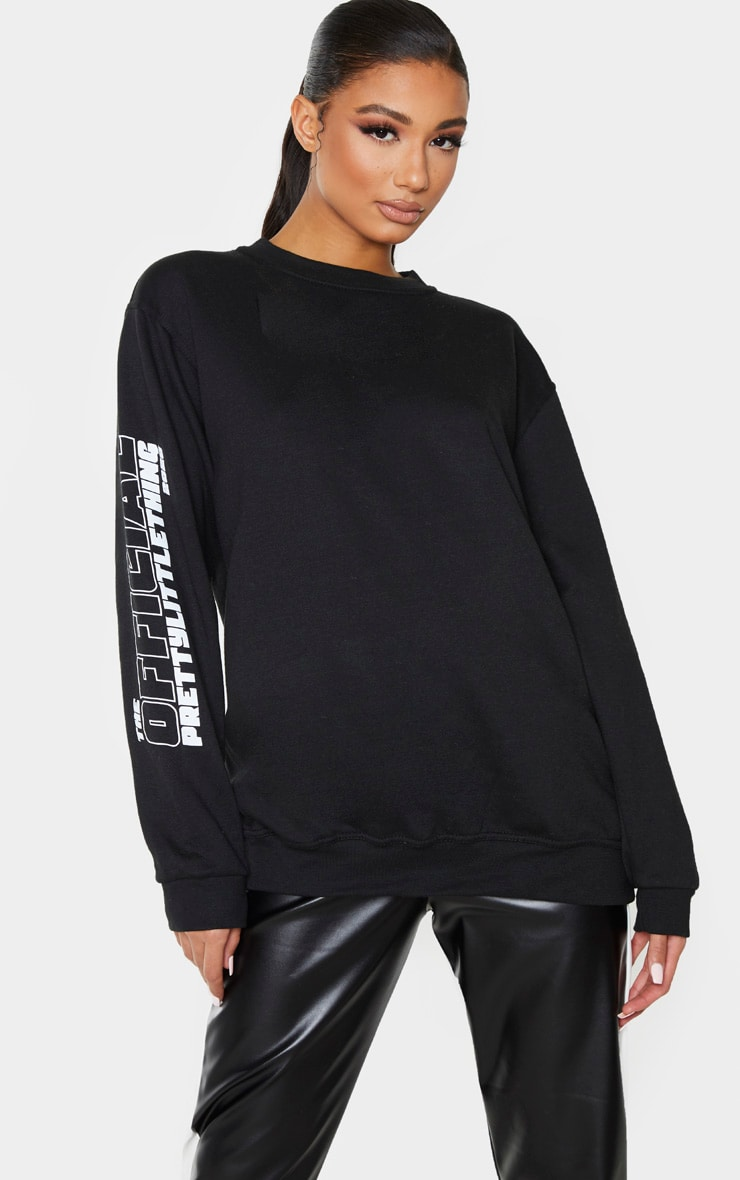 Sweat noir à slogan The Official PrettyLittleThing 2020  2