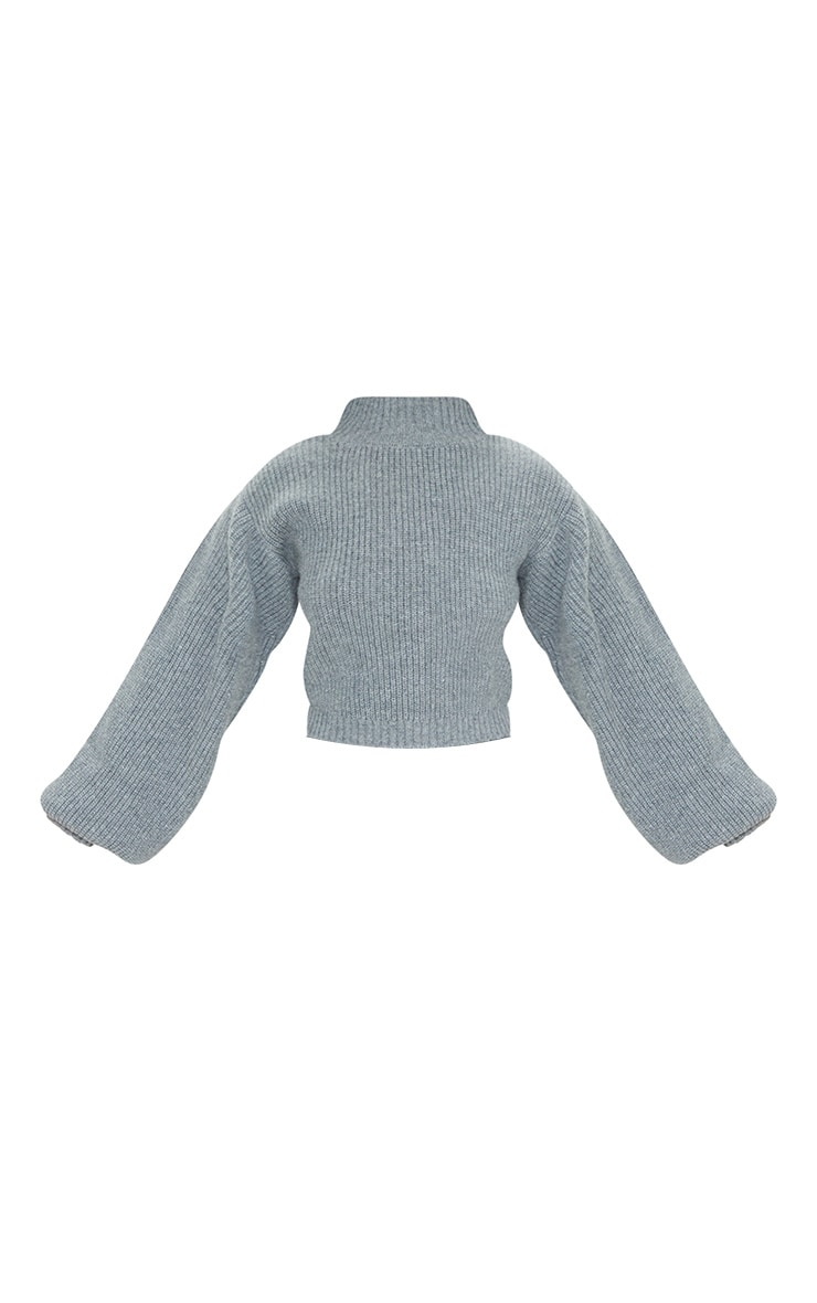 Petite Grey Oversized Balloon Sleeve Knitted Crop Sweater 5