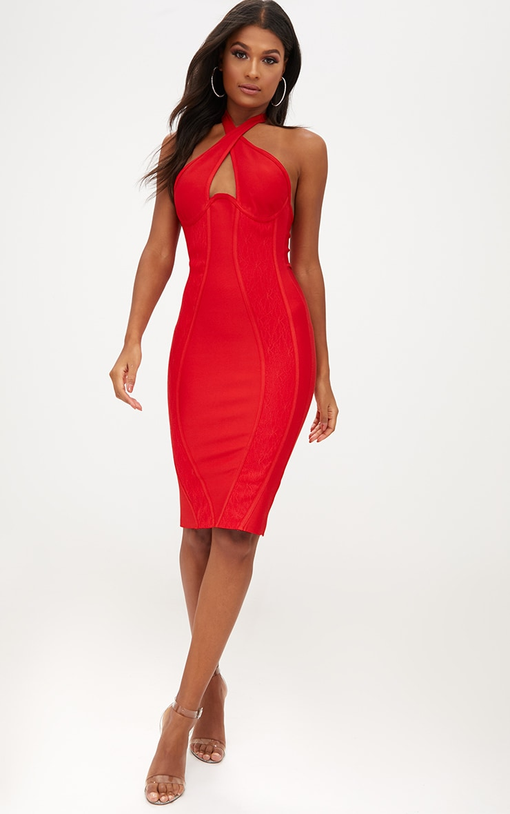 Red Lace Detail Cross Front Bandage Midi Dress 4