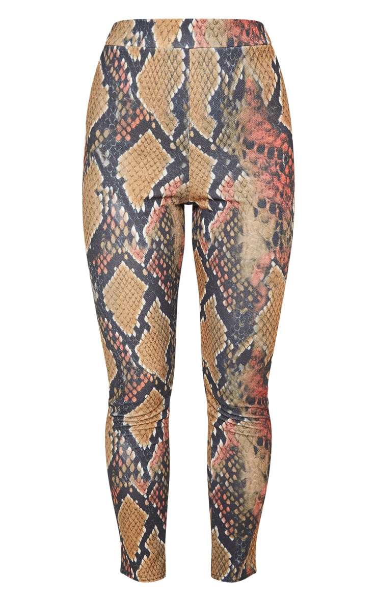 Rust Snake Print Skinny Pants  3
