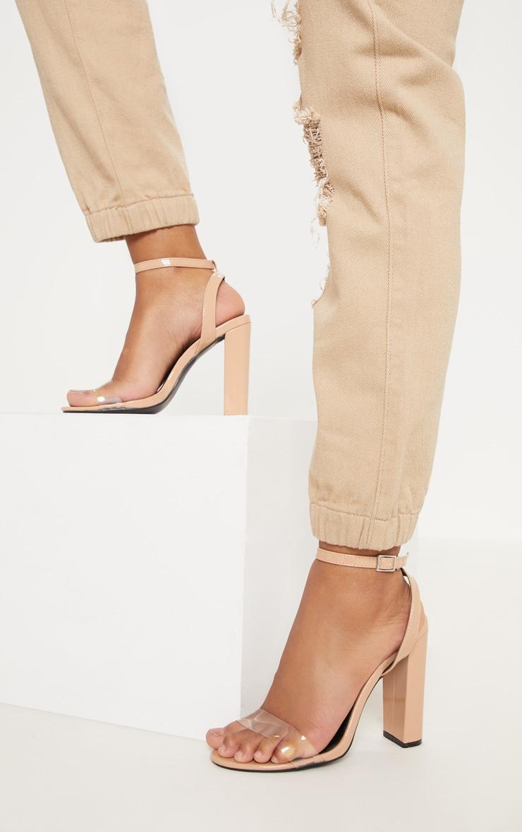 neon orange clear strap block heels