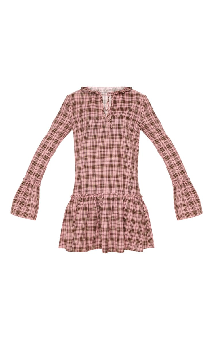 Pink Check Frill Hem Smock Dress 3