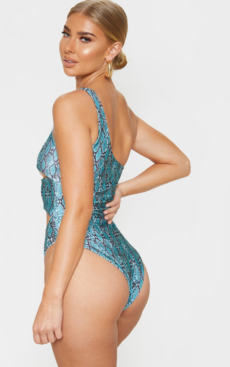 Mint Snake One Shoulder Cut Out Swimsuit 2