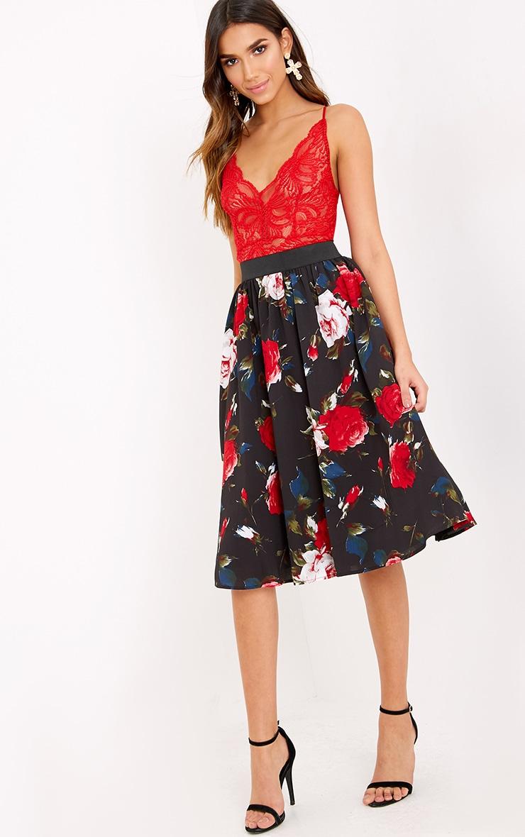 Anitta Black Floral A Line Midi Skirt  1