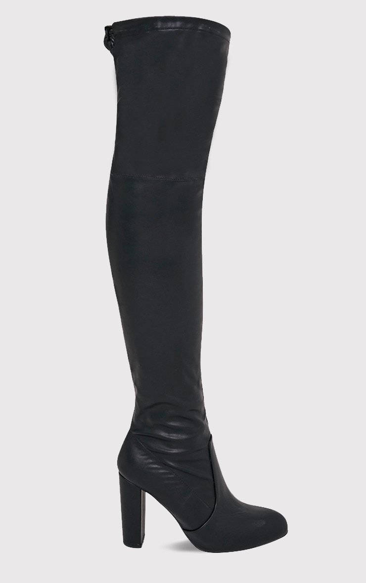 Bess Black Faux Leather Heeled Thigh Boots 2