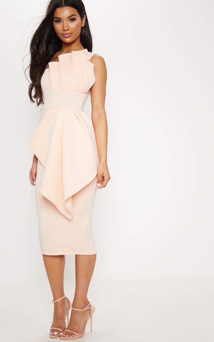 Nude One Shoulder Pleated Detail Midi Dress 4