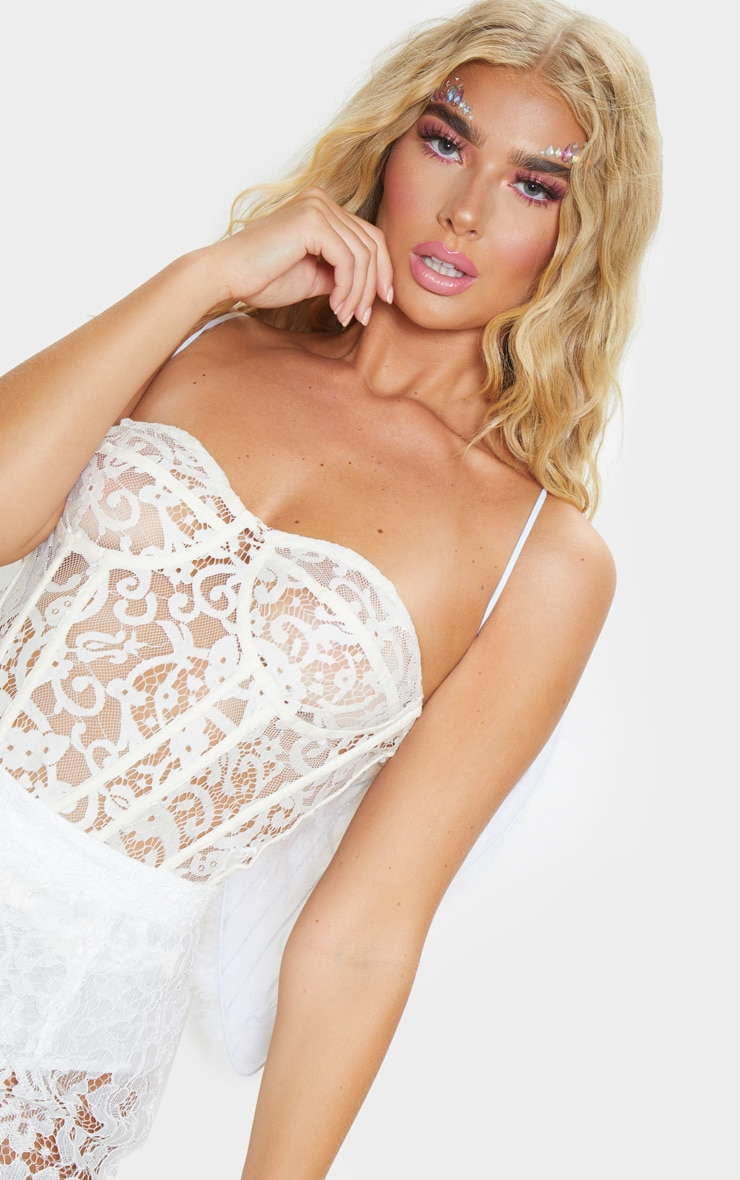 White Sheer Lace Structured Corset Top 5