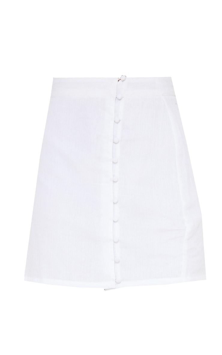 White Textured Button Detail Mini Skirt 6