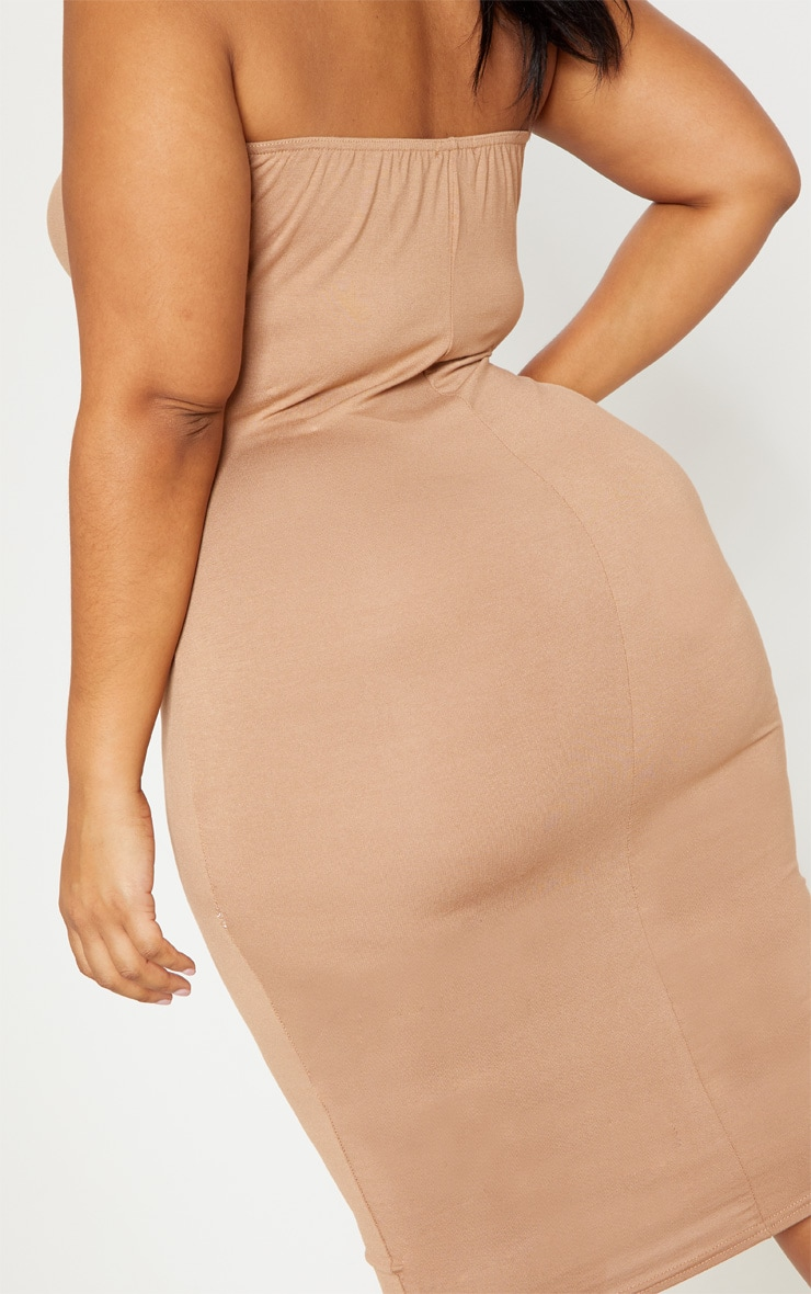 Plus Camel Jersey Bandeau Midi Dress 5