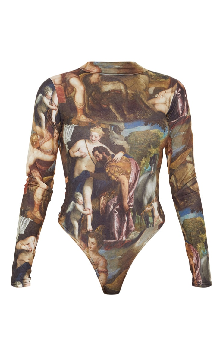 Multi Renaissance Printed High Neck Long Sleeve Bodysuit 3