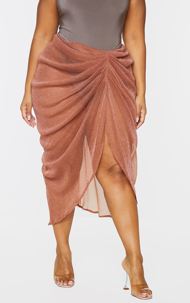 Plus Brown Sheer Glitter Ruched Midi Skirt 2