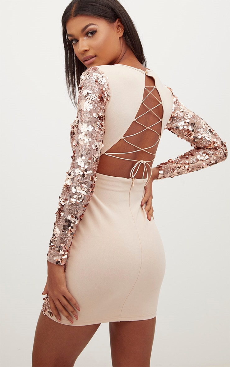 Rose Gold Sequin Front Long Sleeve Back Tie Detail Bodycon Dress 1