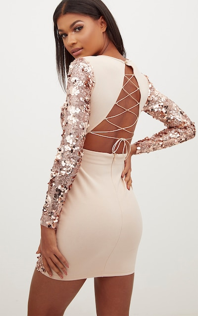 eedcf642cfc Rose Gold Sequin Front Long Sleeve Back Tie Detail Bodycon Dress