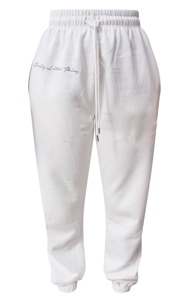PRETTYLITTLETHING Cream Embroidered Oversized Joggers 5