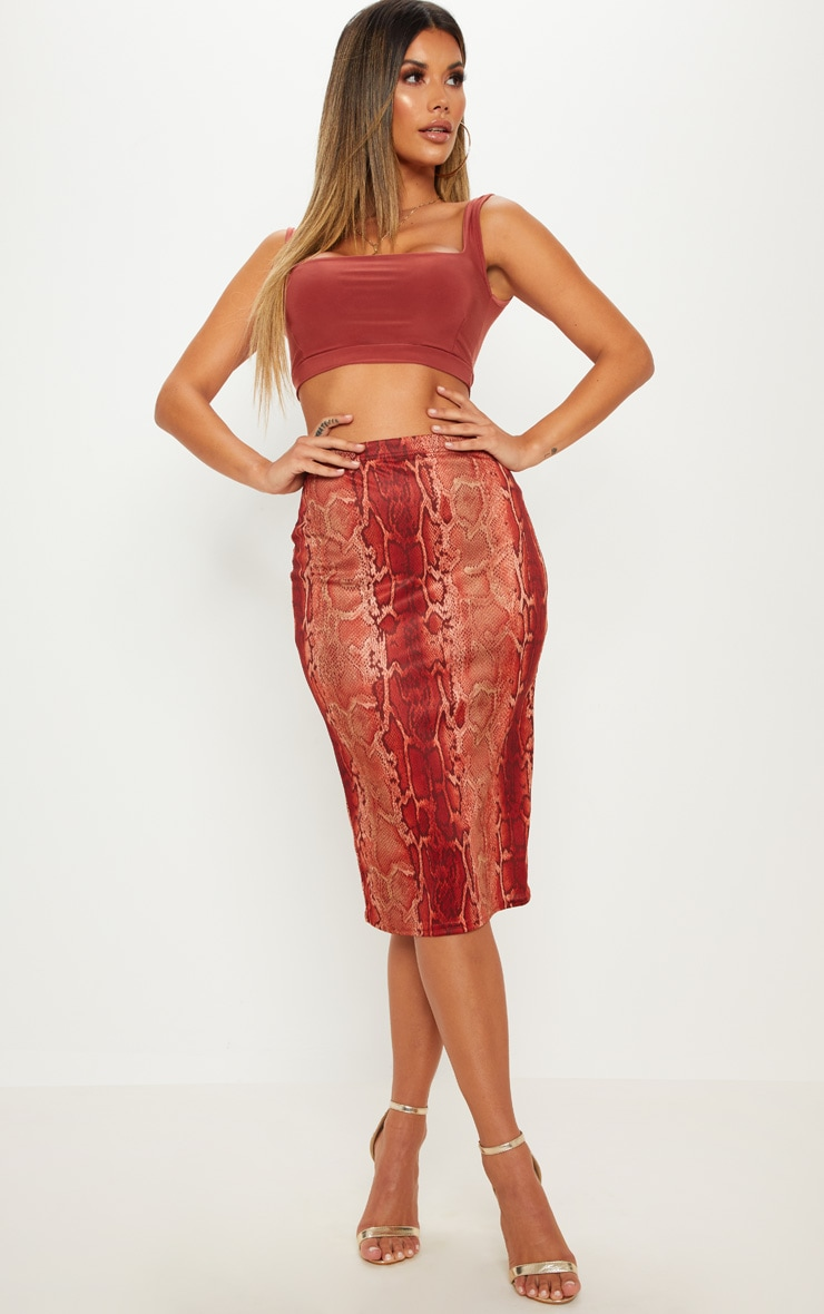 Snake Print Soft Touch Midi Skirt