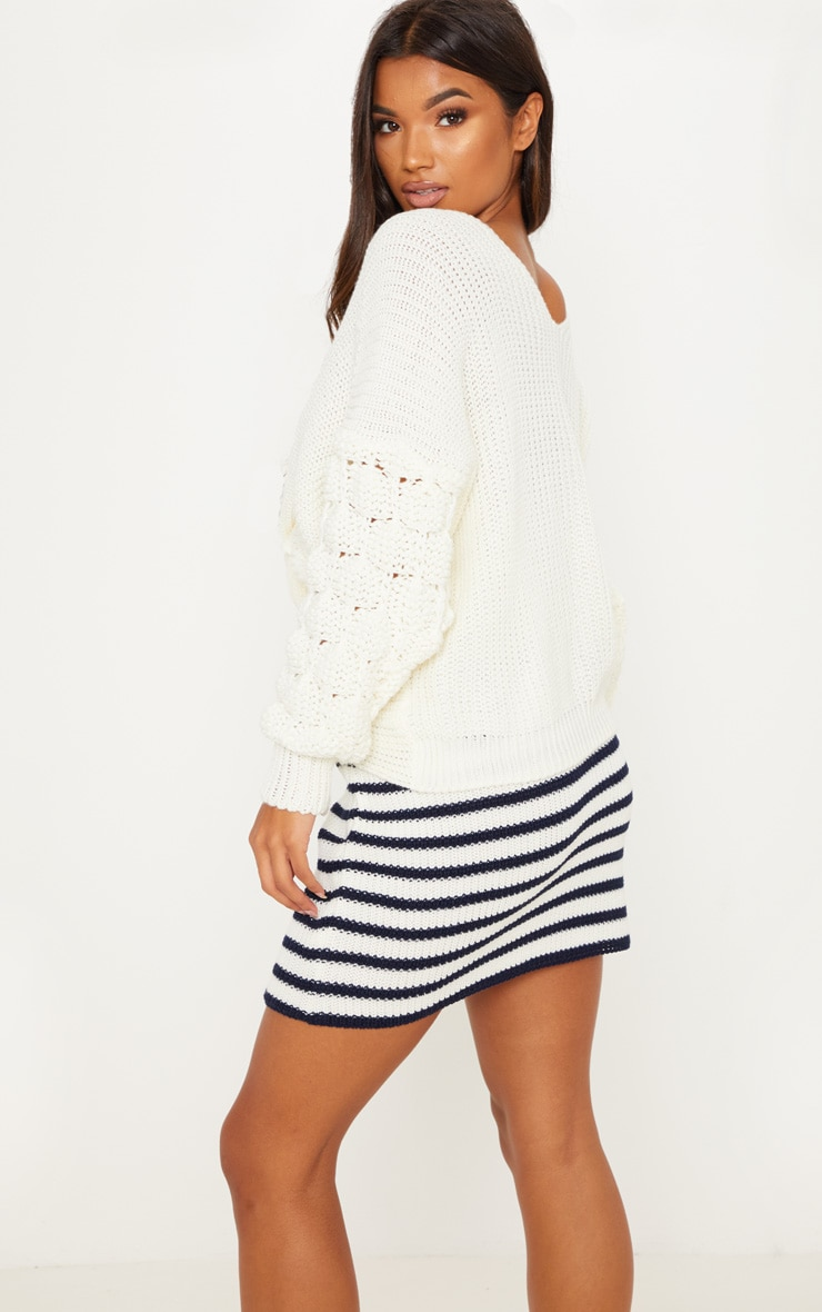 Cream Knitted Twist Detail Bubble Sleeve Jumper 2