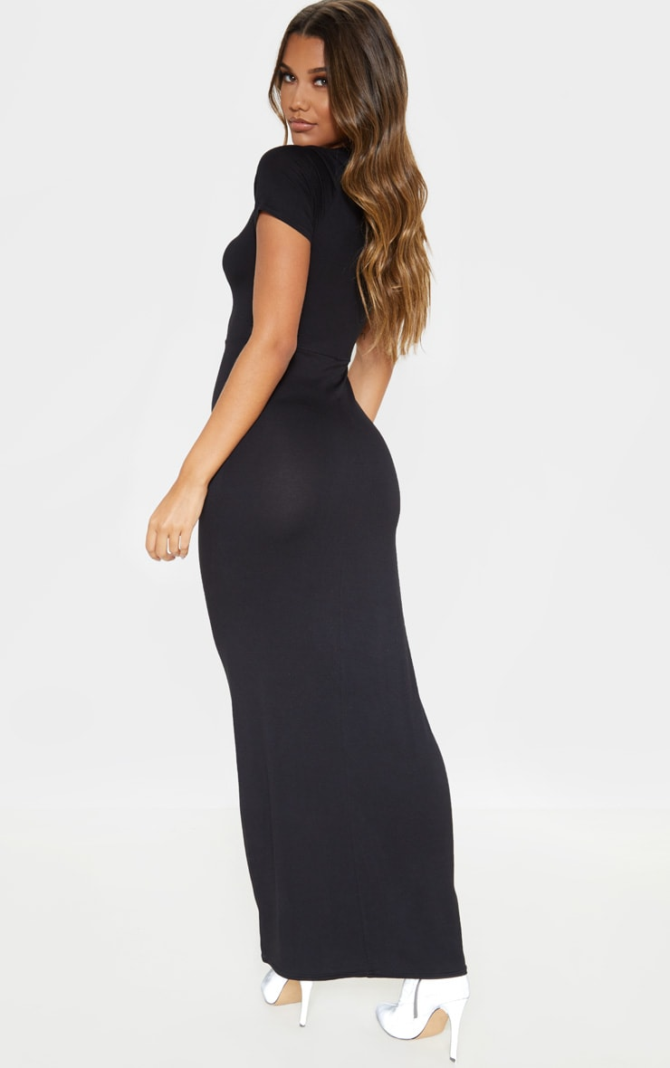 Black Jersey V Neck Short Sleeve Maxi Dress 2