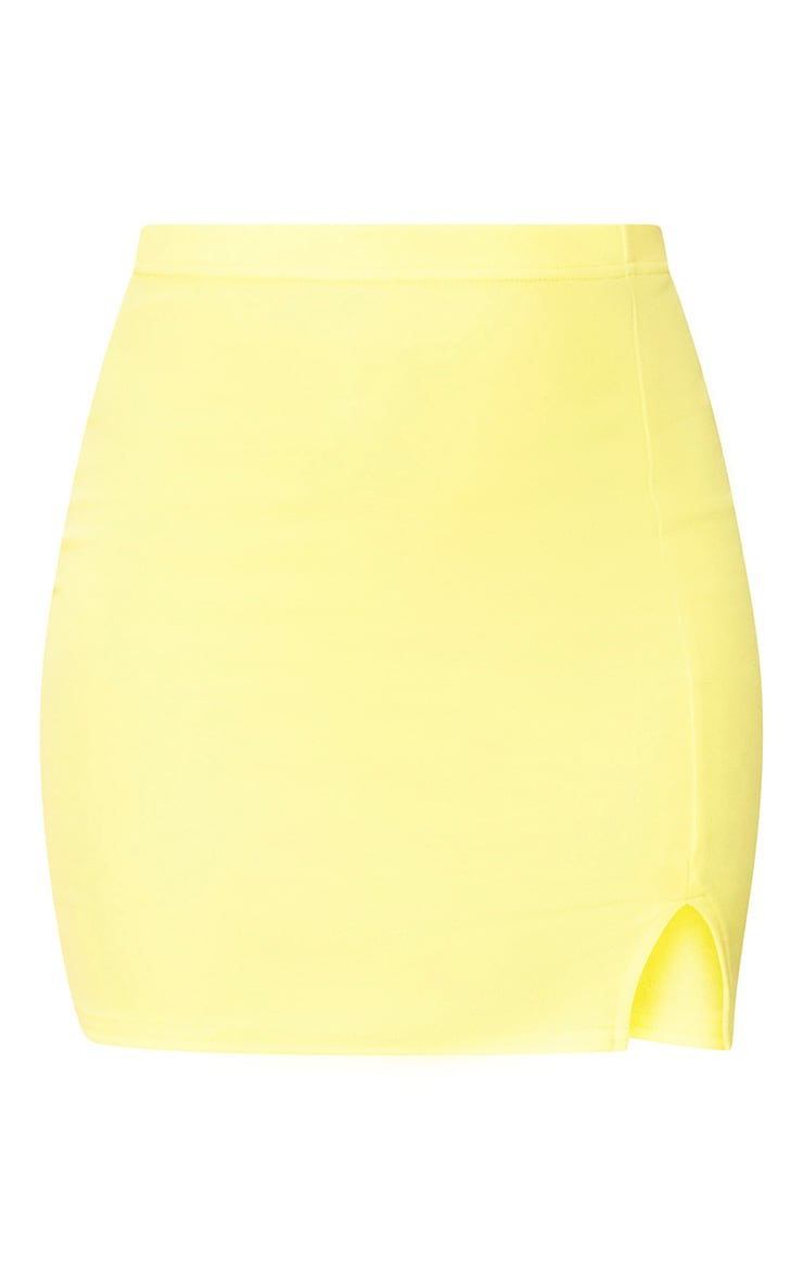 Yellow Side Split Mini Skirt  3