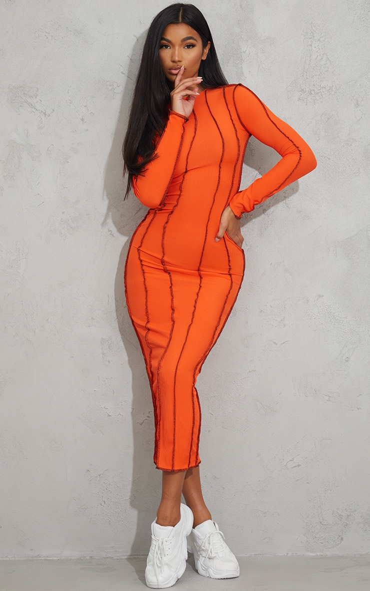 Orange Rib Asymmetric Seam Detail Long Sleeve Midi Dress 1
