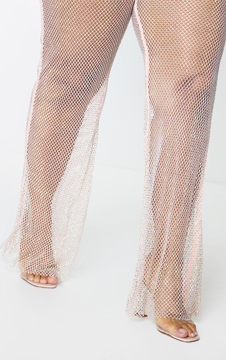 PLT Plus - Pantalon flare en résille rose tendre à strass 4