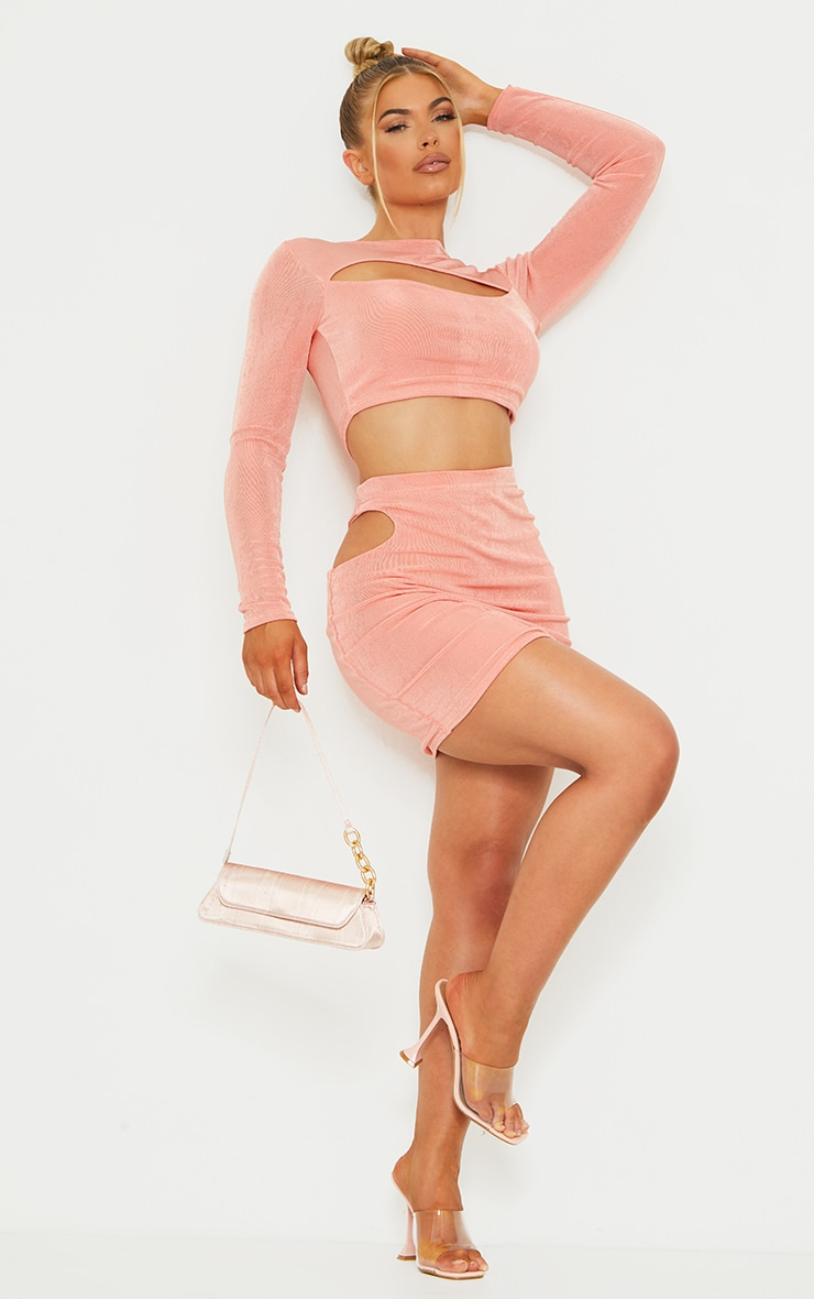 Peach Slinky Acetate Long Sleeve Cut Out Front Crop Top 3