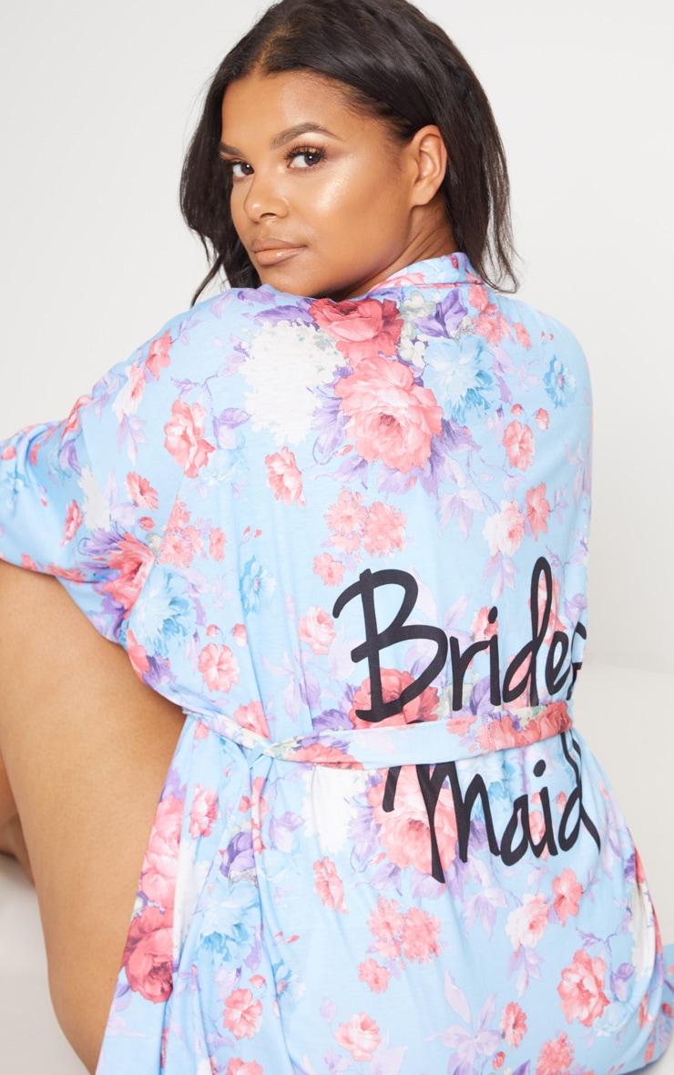 Plus Blue Bridesmaid Floral Blue Dressing Gown 7