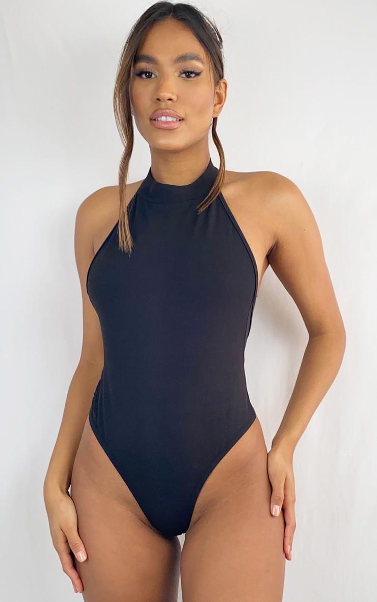 Black Crepe Halterneck Back Panel Bodysuit 2