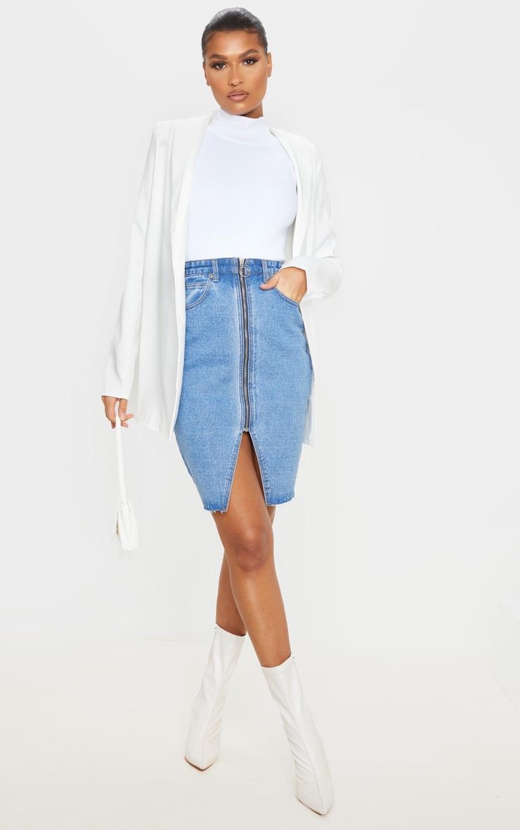 Jupe mi-longue en jean moyennement délavé à zip et fente 1