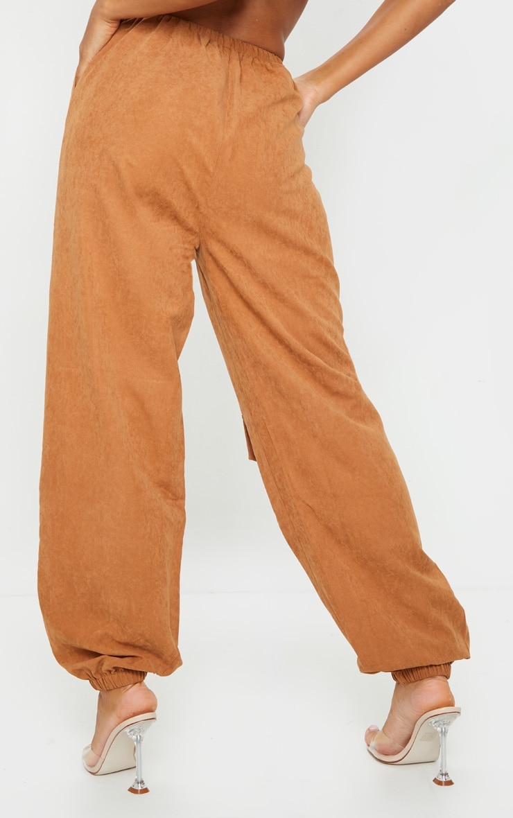 Rust Faux Suede Drawstring Waist Cargo Trousers 3