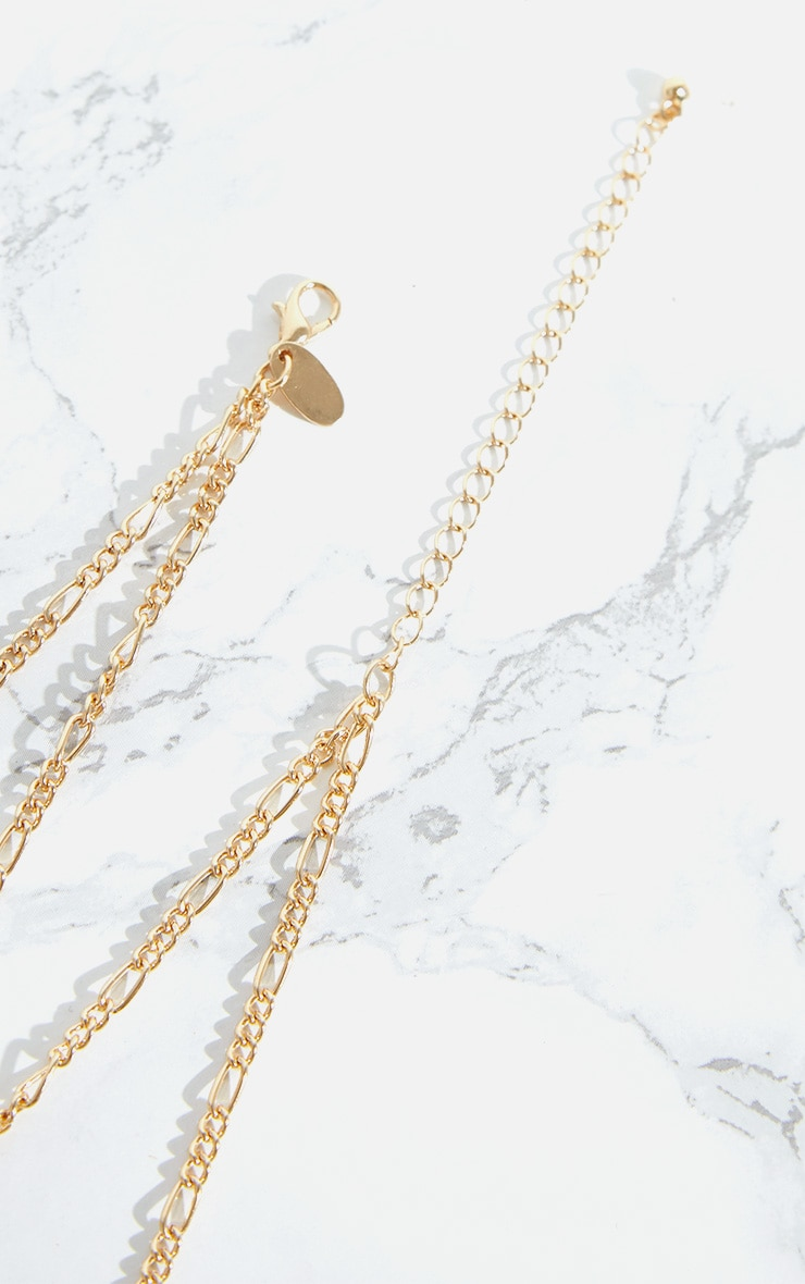 Gold Layered Chain Hammered Pendant Necklace 4