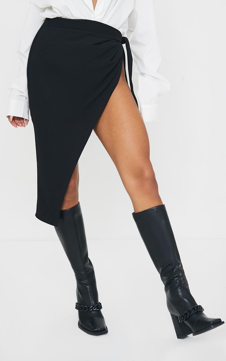 Black Wrap Tie Detail Midi Skirt 2
