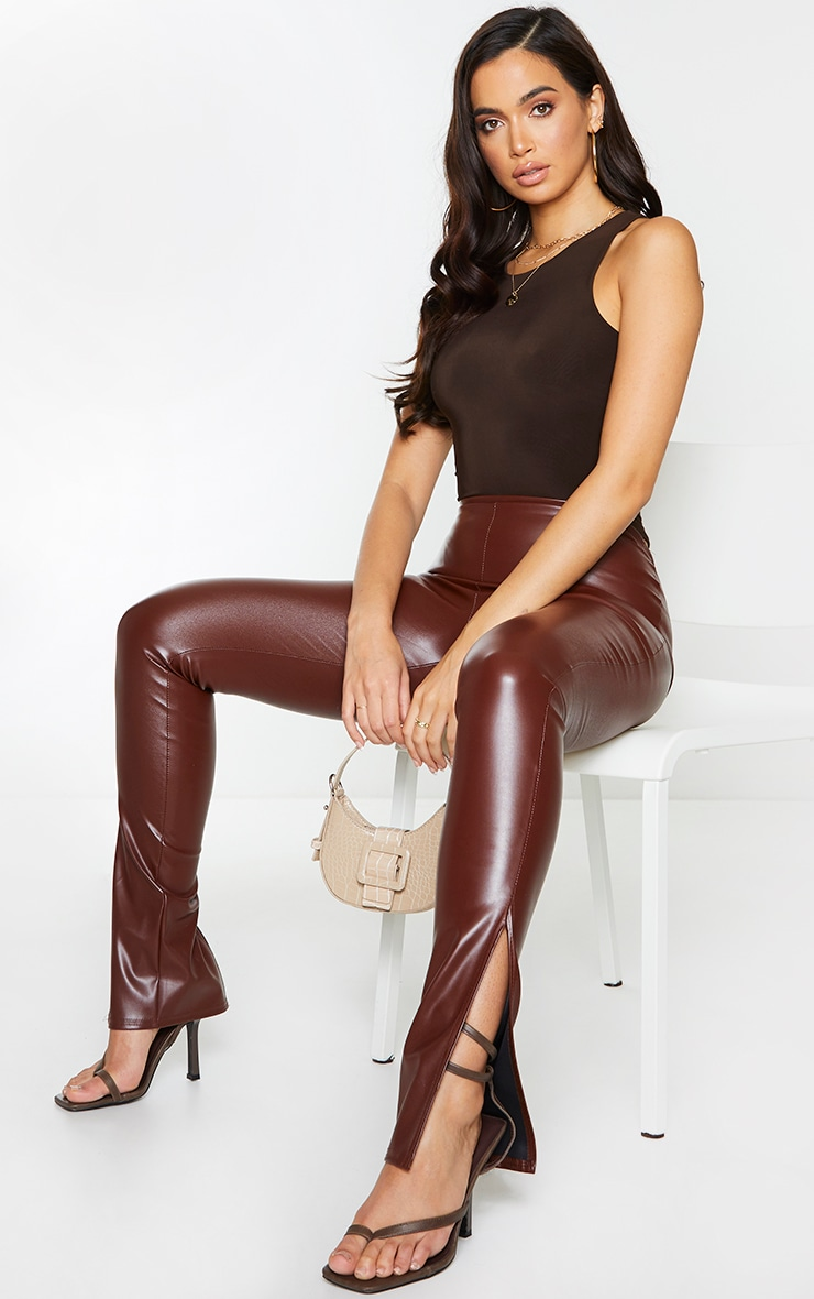 Chocolate Faux Leather Split Hem Leggings 1