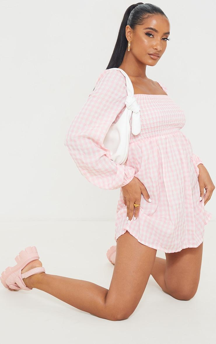 Pink Gingham Print Shirred Smock Dress 1