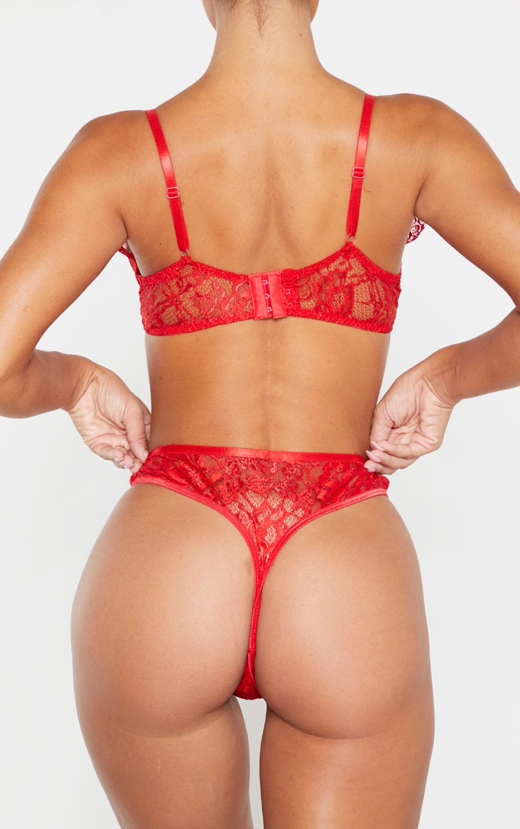 Red Floral Lace Thong 3