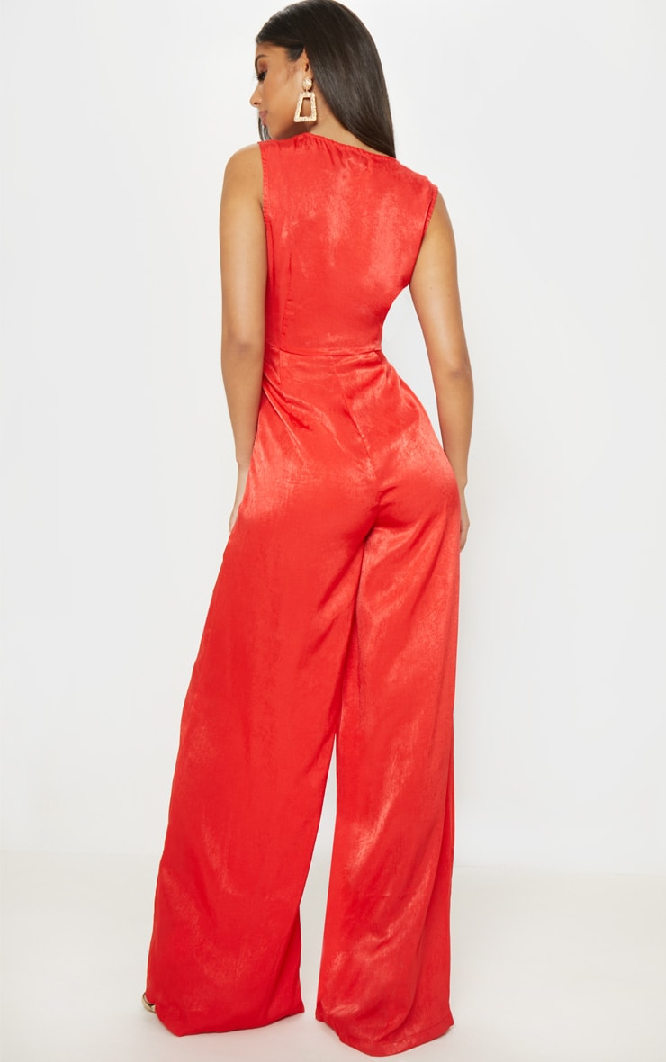 Red Satin Twist Detail Wide Leg Jumpsuit 2