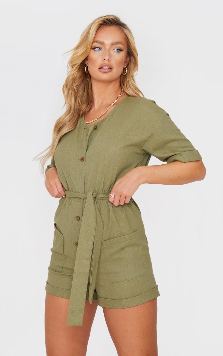 Khaki Linen Look Short Sleeve V Neck Shirt Playsuit 1