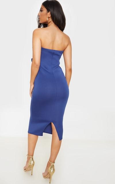 Midnight Blue Bandeau Pleated Scuba Midi Dress