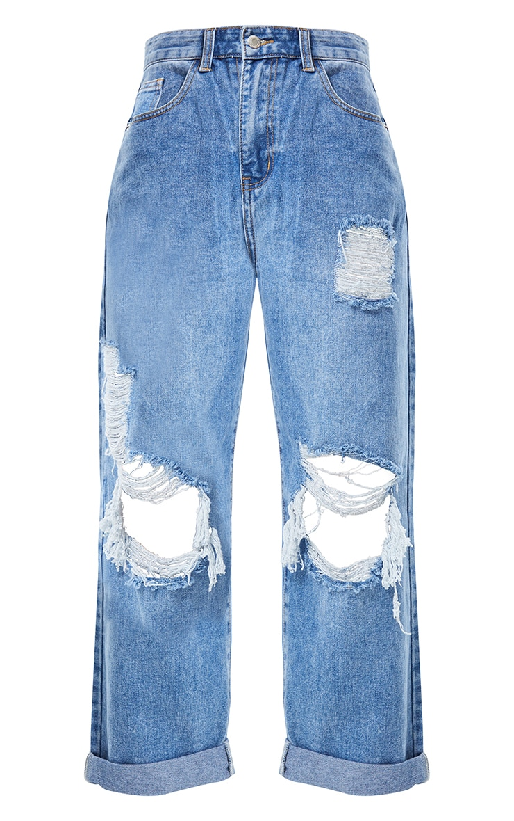 PRETTYLITTLETHING Mid Blue Wash Open Knee Distressed Turn Up Boyfriend Jean 5