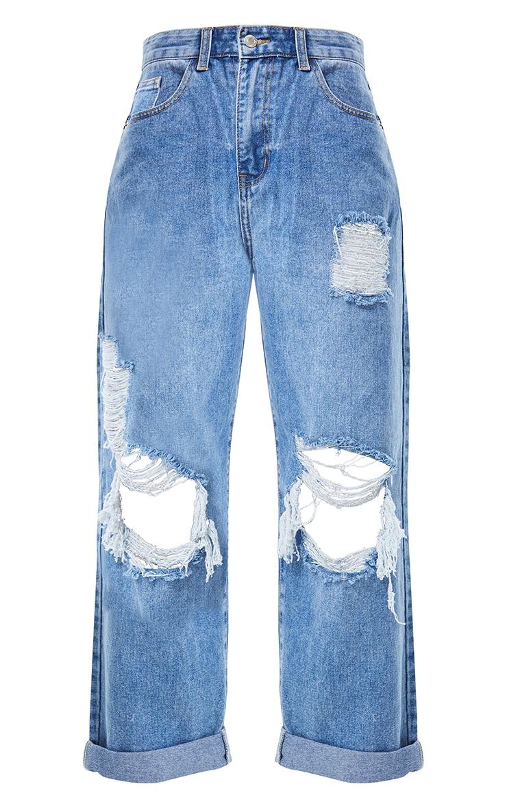 PRETTYLITTLETHING Mid Blue Wash Open Knee Ripped Turn Up Boyfriend Jeans 5