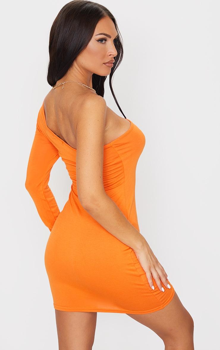 Bright Orange One Shoulder Long Sleeve Bodycon Dress 2