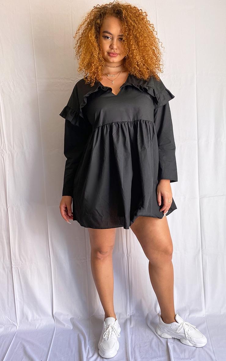 Plus Black Woven V Neck Frill Detail Smock Dress 1