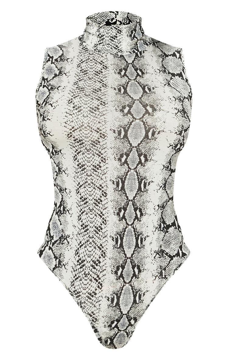 Grey Snake Print Roll Neck Sleeveless Bodysuit 4