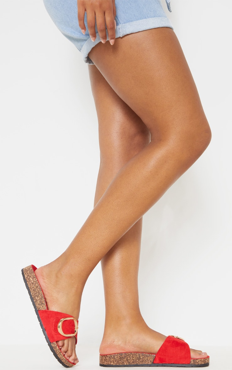 Red Buckle Detail Mule Sandal 3