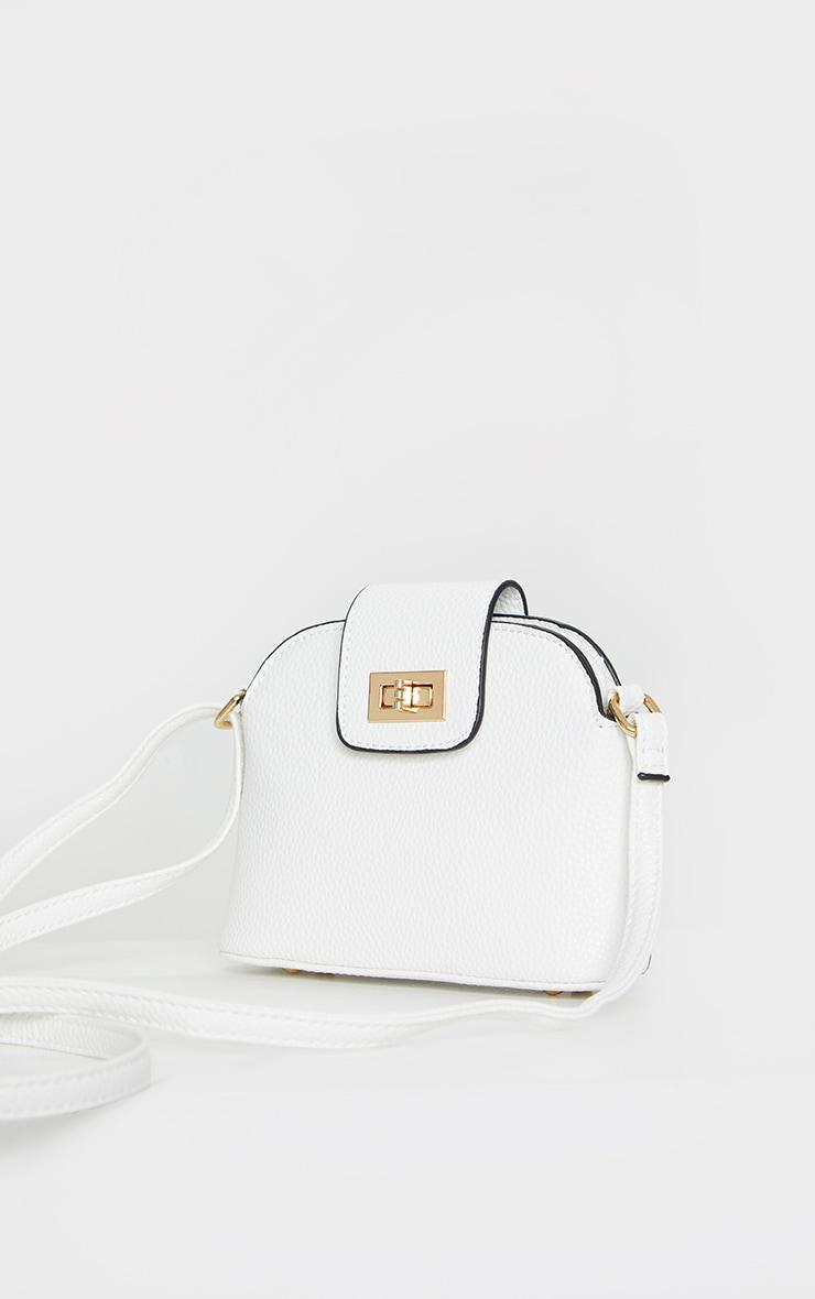 White PU Half Moon Cross Body Bag 1