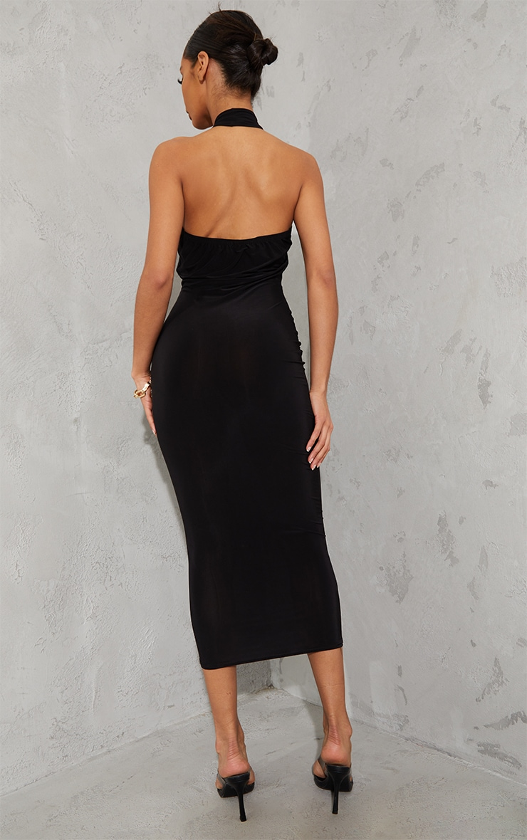 Black Slinky Cross Halterneck Cut Out Midaxi Dress 2