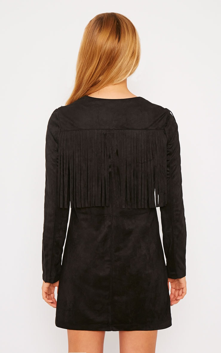 Elvin Black Suede Fringe Mini Dress 2