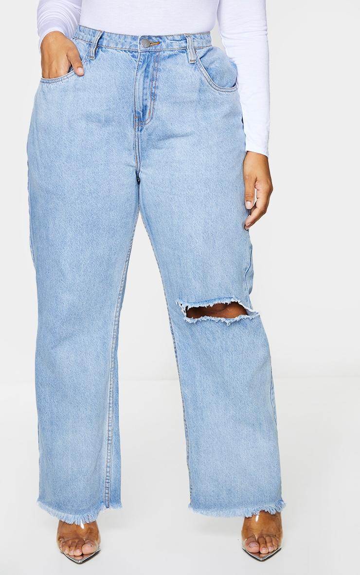 Plus Vintage Knee Rip Wide Leg Fray Hem Jeans 2