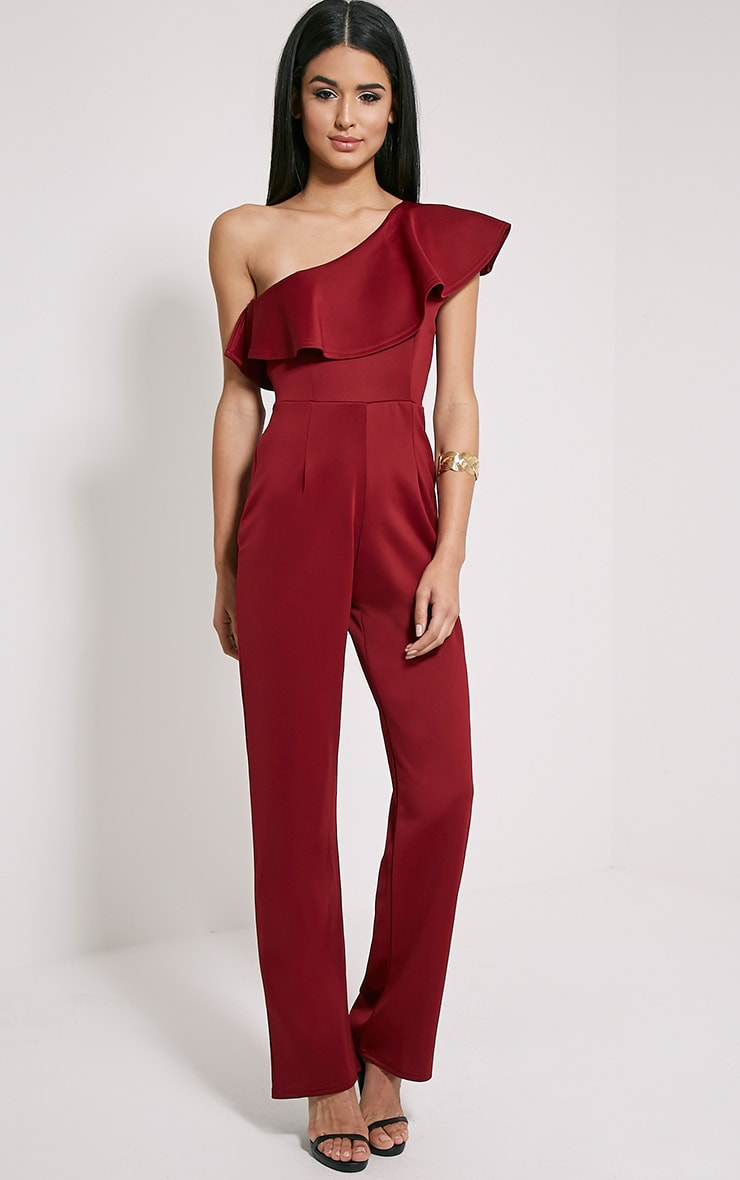 Kerry Wine One Shoulder Frill Jumpsuit 3