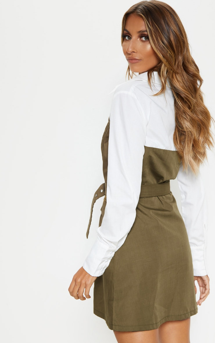 Khaki Bandeau Contrast Buttons Belted Shirt Dress 2