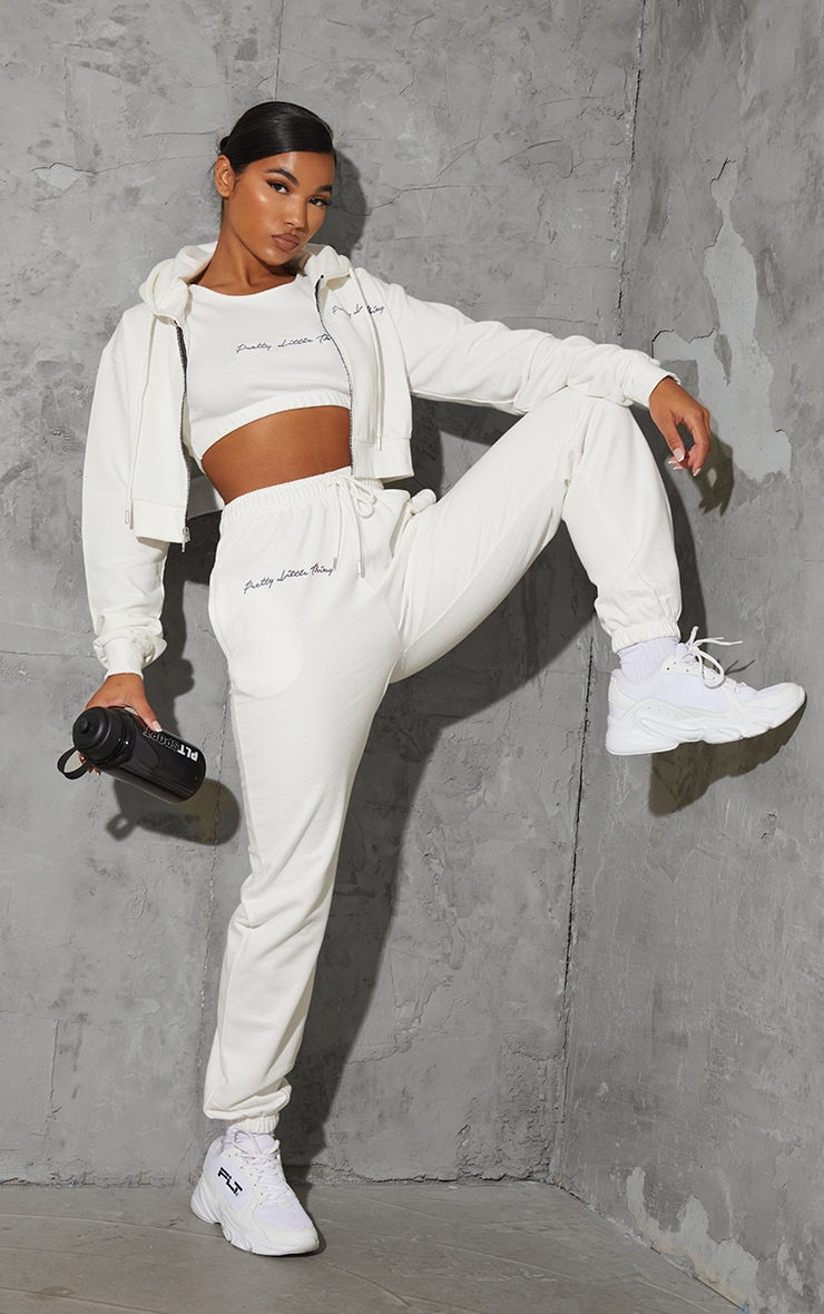 PRETTYLITTLETHING Cream Embroidered Oversized Joggers image 1